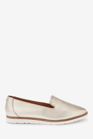Gold Leather EVA Slipper Loafers