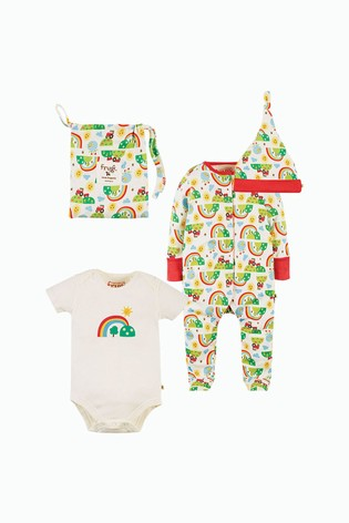 Frugi Organic Cotton 4 Piece Newborn Happy Days Print Gift Set