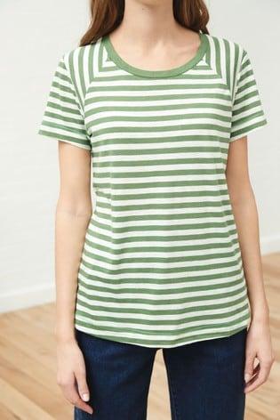 Green Metallic Stripe Raglan T-Shirt