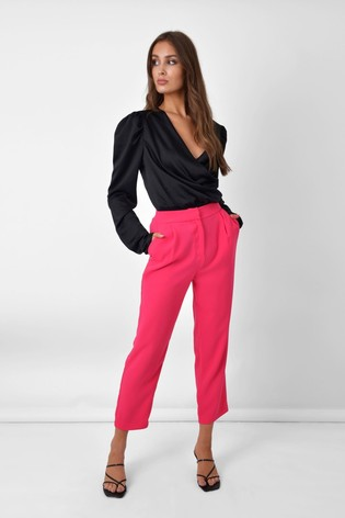 Ro&Zo Pink Crepe Tailored Trousers