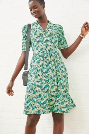 Green Ditsy  Button Shirt Dress