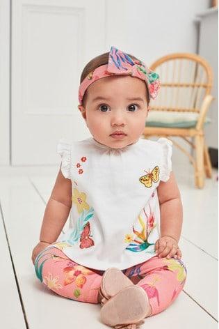 White/Coral Bunny T-Shirt, Leggings And Headband Set (0mths-3yrs)