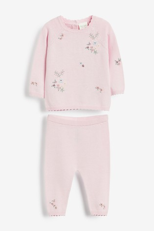 Pink Embroidered Knitted Set (0mths-2yrs)