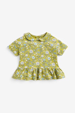 Green Floral Organic Cotton Collar Top (3mths-7yrs)