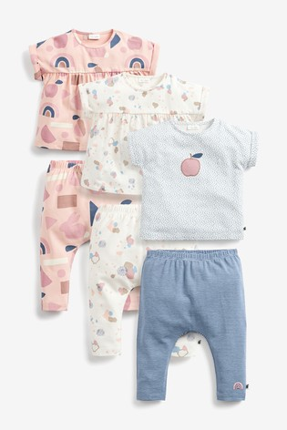 Pink 6 Pack Scandi Tops And Leggings Set (0mths-2yrs)