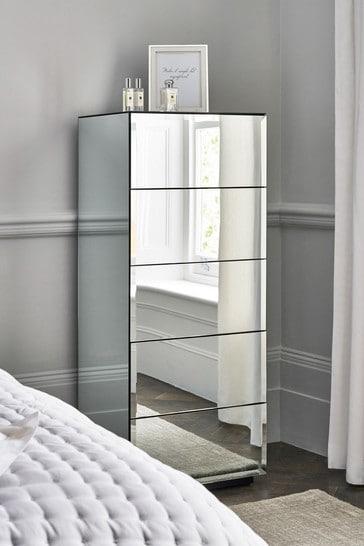 Sloane Mirror 5 Drawer Tall Chest