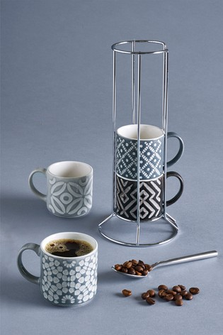 Geo Set of 4 Stacking Espresso Mugs Embossed