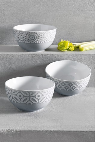 Geo Set of 3 Dip Bowls Embossed
