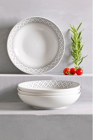 Grey Geo Embossed Set of 4 Pasta Bowls