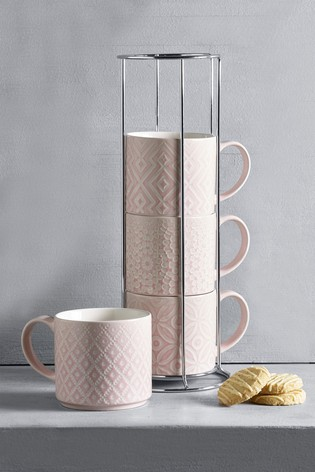 Geo Set of 4 Stacking Mugs Embossed