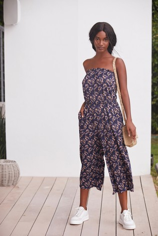 Navy Ditsy Bandeau Pull On Jumpsuit