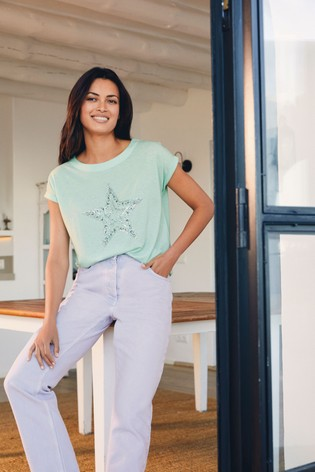 Mint Iridescent Star Curved Hem T-Shirt