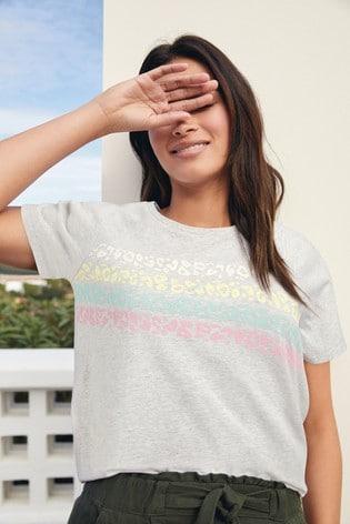 Grey Marl Rainbow Stripe Raglan T-Shirt
