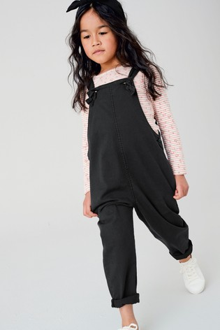 Black Soft Cotton Dungarees (3-16yrs)