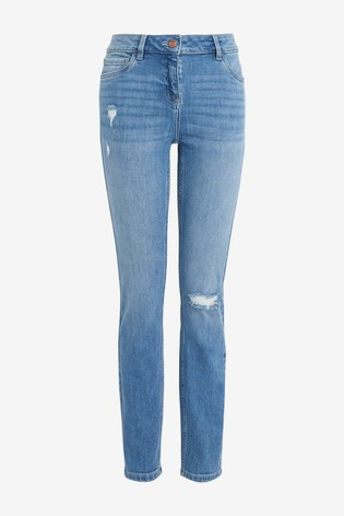 Mid Blue Ripped Skinny Jeans