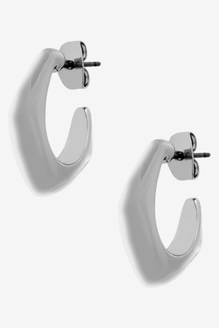 Mint Velvet Silver Tone Molten Hoop Earrings