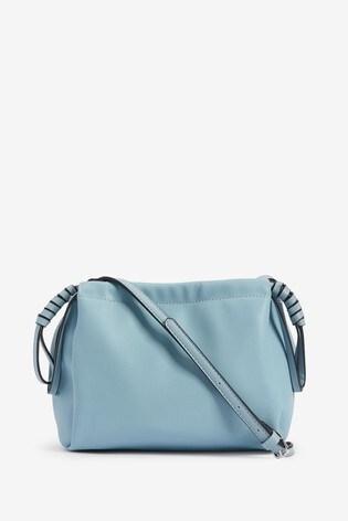 Pale Blue Drawstring Pouch Across Body Bag