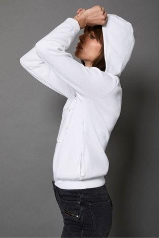 Mint Velvet Off White Zip Knitted Hoodie