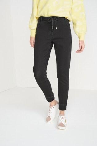 Black Soft Stretch Jersey Denim Joggers