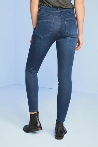 Dark Blue Soft Stretch Jersey Denim Skinny Jeans