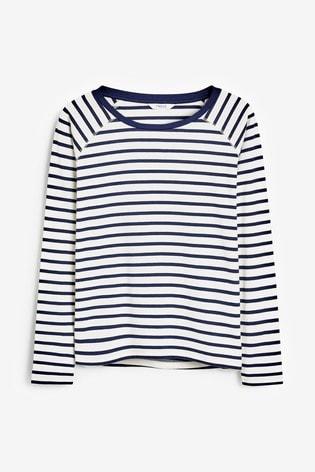 Navy/White Stripe Raglan Long Sleeve Top