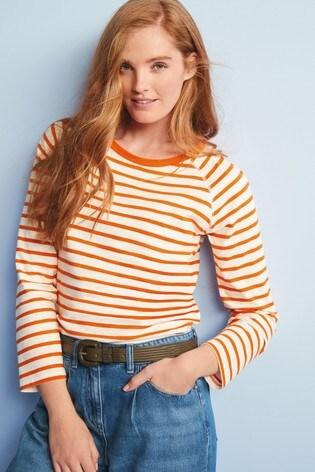 Rust Stripe Raglan Long Sleeve Top
