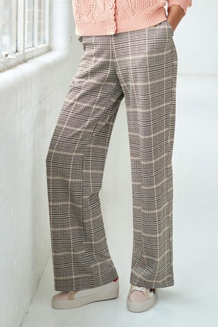 Pink Check Jersey Wide Leg Trousers
