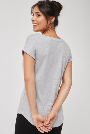 Grey Marl Cap Sleeve T-Shirt