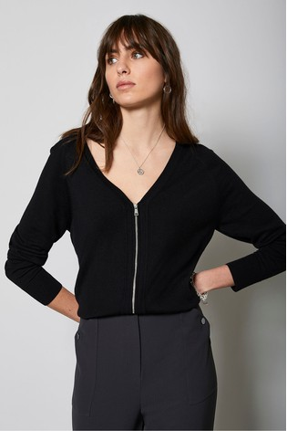 Mint Velvet Black Zip Front Cardigan