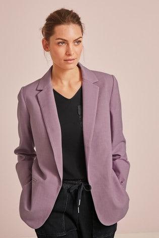 Lilac Sharkskin Texture Tailored Jacket