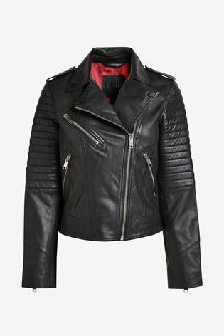 Black Quilted Leather Biker Jacket