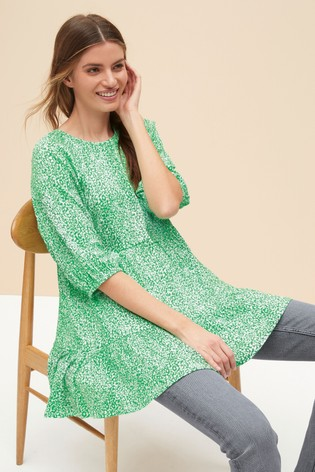 Green Ditsy Textured Tiered Tunic