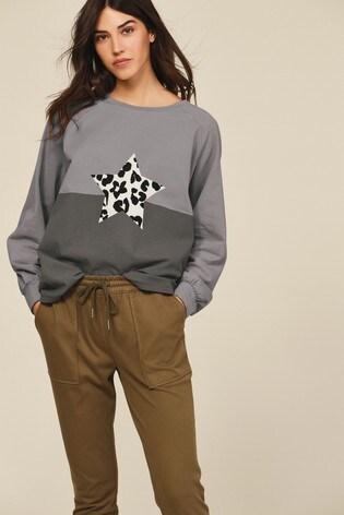 Charcoal Colourblock Star Raglan Long Sleeve Top