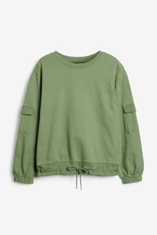 Khaki Pocket Detail Sweatshirt