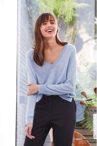 Blue V-Neck Jumper