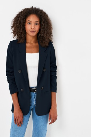 Navy Relaxed Double Breasted Blazer