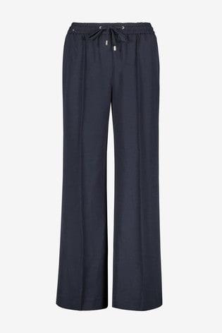 Navy Premium Crepe Elastic Waist Wide Leg Trousers