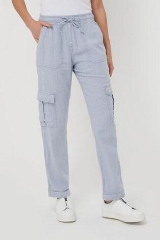 Blue Linen Blend Utility Trousers