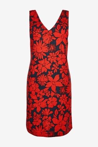 Red Floral Linen Blend Shift Dress