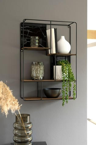 Salvage Wood And Marble Effect Shelf