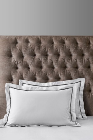 Set of 2 600 Thread Count Embroidered Border Collection Luxe 100% Cotton Pillowcases