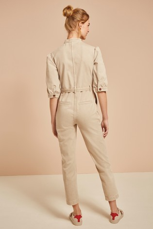 Neutral Puff Sleeve Boiler Suit