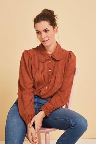 Rust Ruffle Collar Shirt