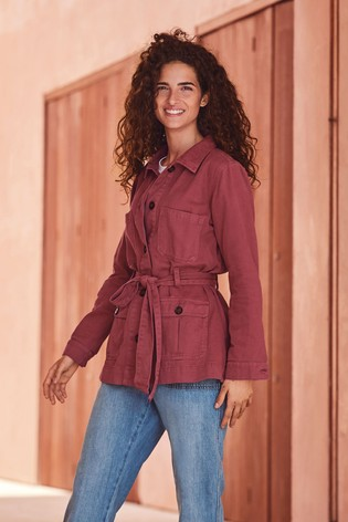 Red Belted Utility Jacket