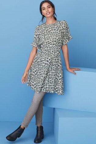 Animal Print Frill Sleeve Tea Dress
