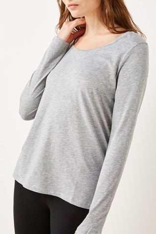 Grey Marl Long Sleeve Top