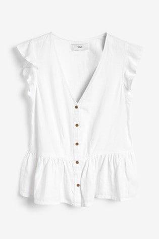 White Linen Blend Ruffle Sleeve Top