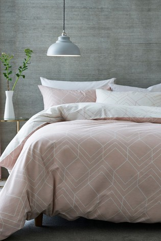 2 Pack Pink Reversible Geo Lines Duvet Cover and Pillowcase Set