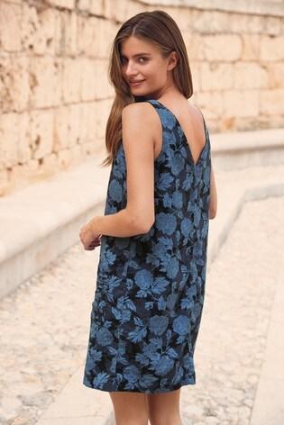 Blue Floral Linen Blend Shift Dress