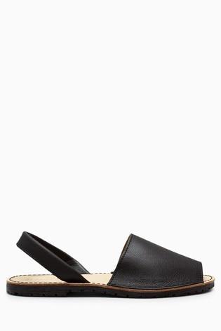 Black Leather Regular/Wide Fit Beach Sandals